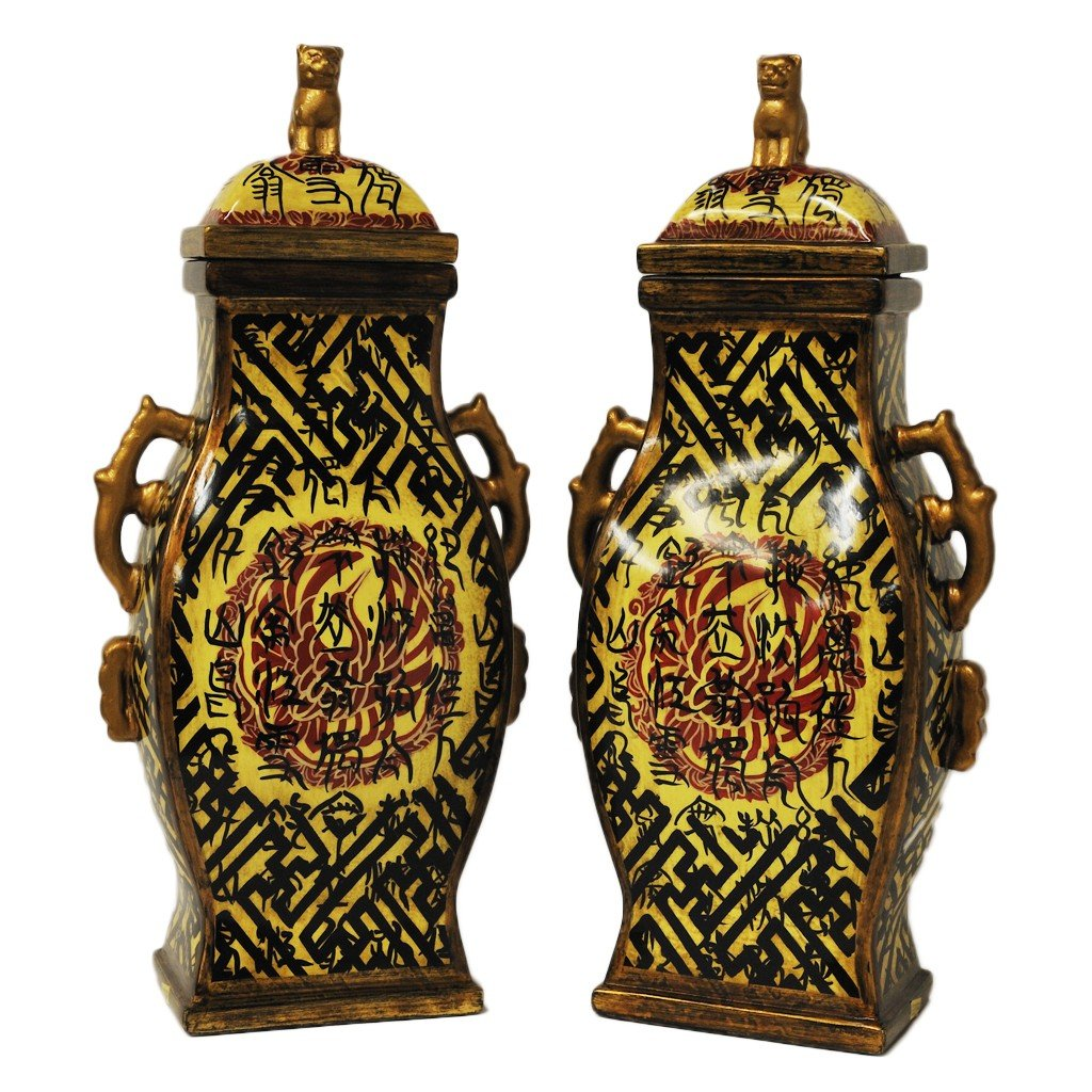 "10: A PAIR OF CERAMIC LIDDED JARS MADE BY ""ORIENTAL ACC"