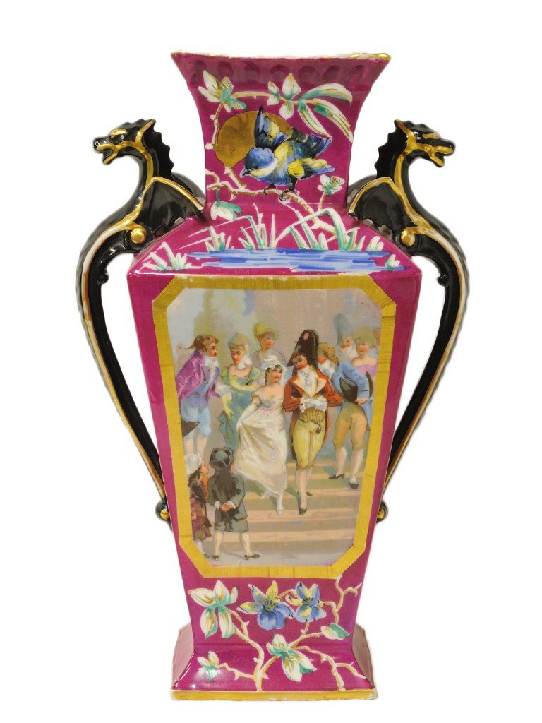 19: A HAND PAINTED ANGULAR BALUSTER FORM VASE