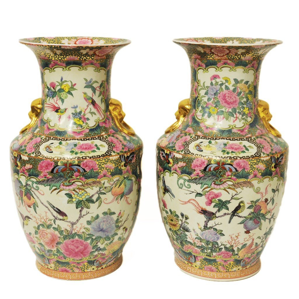 21: A PAIR OF BALUSTER FORM ROSE MEDALLION VASES, Late