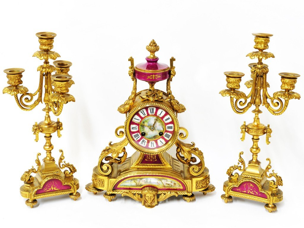 74: A FRENCH SEVRES STYLE CLOCK SET
