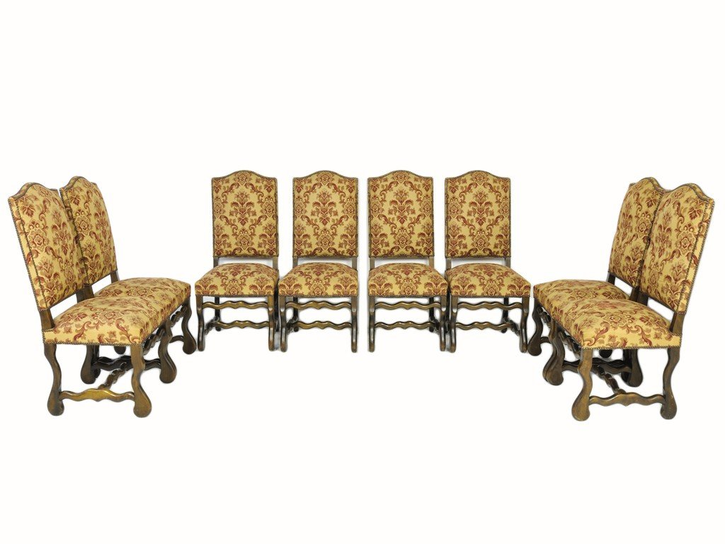 312: A SET OF EIGHT LOUIS XIII WALNUT AND UPHOLSTERED C