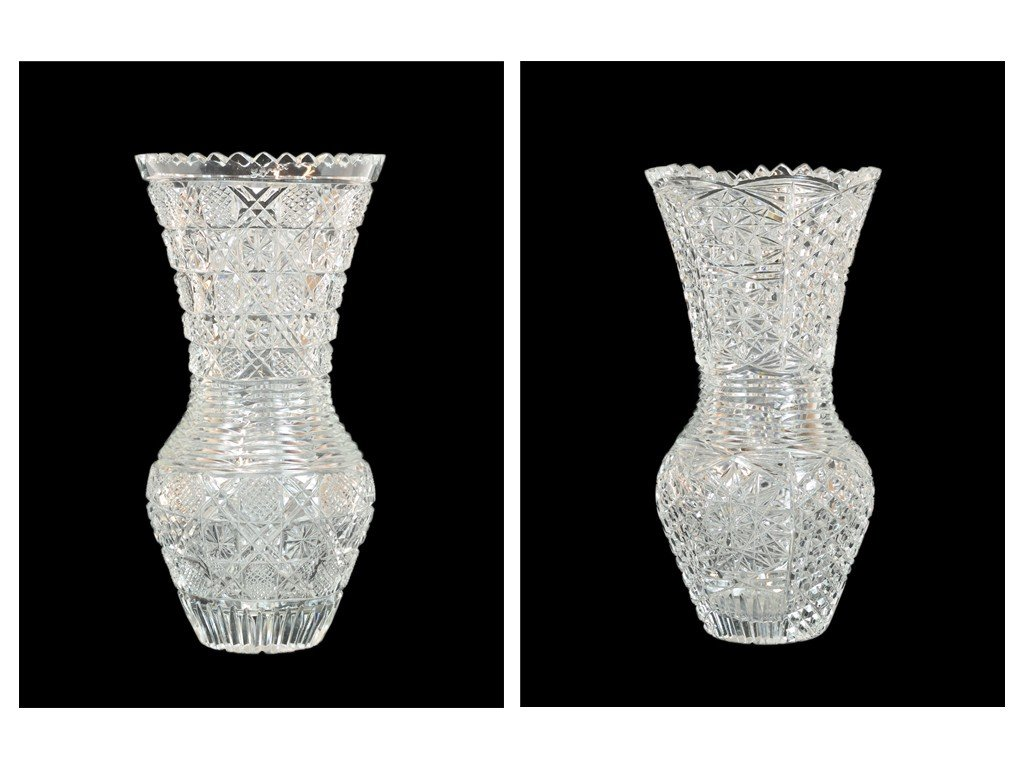1: TWO CUT CRYSTAL VASES