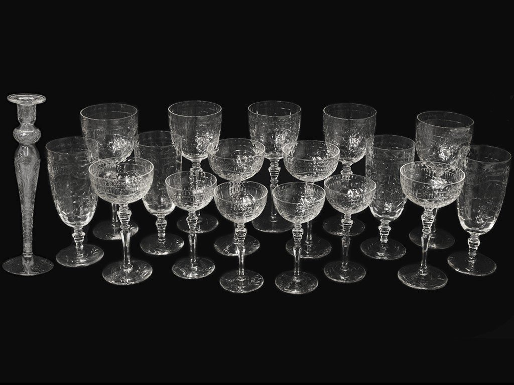 2: A COLLECTION OF STEMWARE AND CANDLESTICK 18 pieces