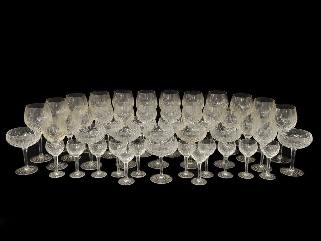 3: A COLLECTION OF CUT CRYSTAL STEMWARE WITH LATTICE CU