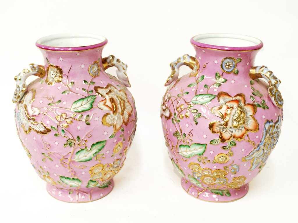 10: A PAIR OF PINK LIMOGES VASES 2 pieces