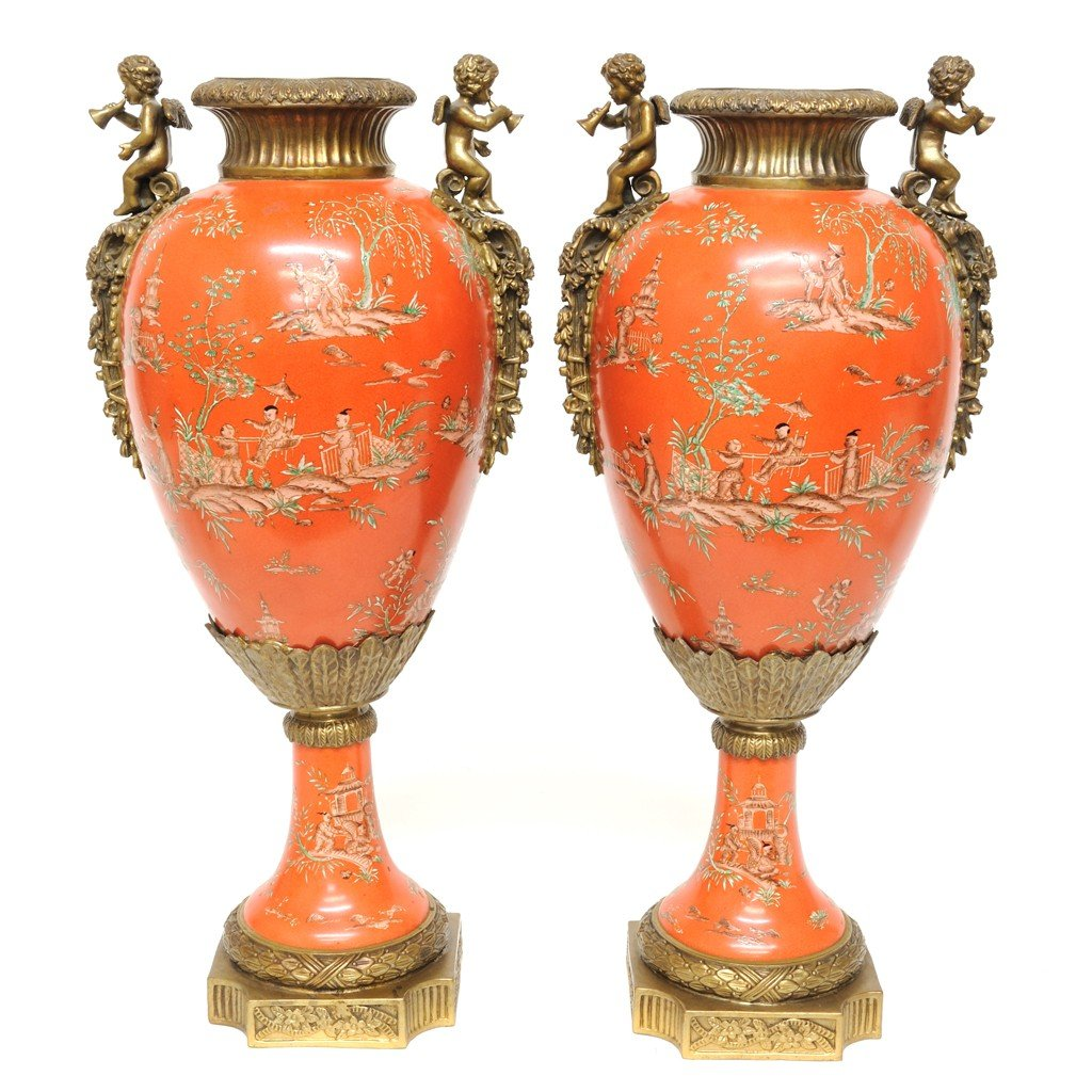 11: A PAIR PORCELAIN AND BRONZE COVERED URNS, CHINESE H