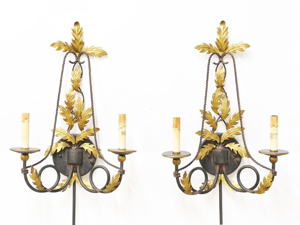 15: A PAIR OF PAINTED METAL TWO-LIGHT WALL SCONCES