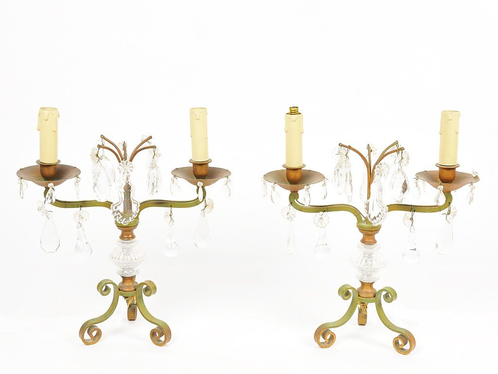 21: A PAIR OF WROUGHT IRON AND CRYSTAL GIRONDOLE TABLE