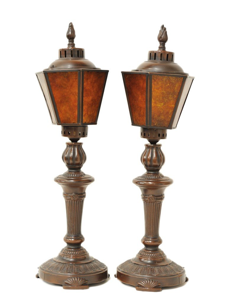 22: A PAIR OF BRONZE LANTERN STYLE TABLE LAMPS, Twentie