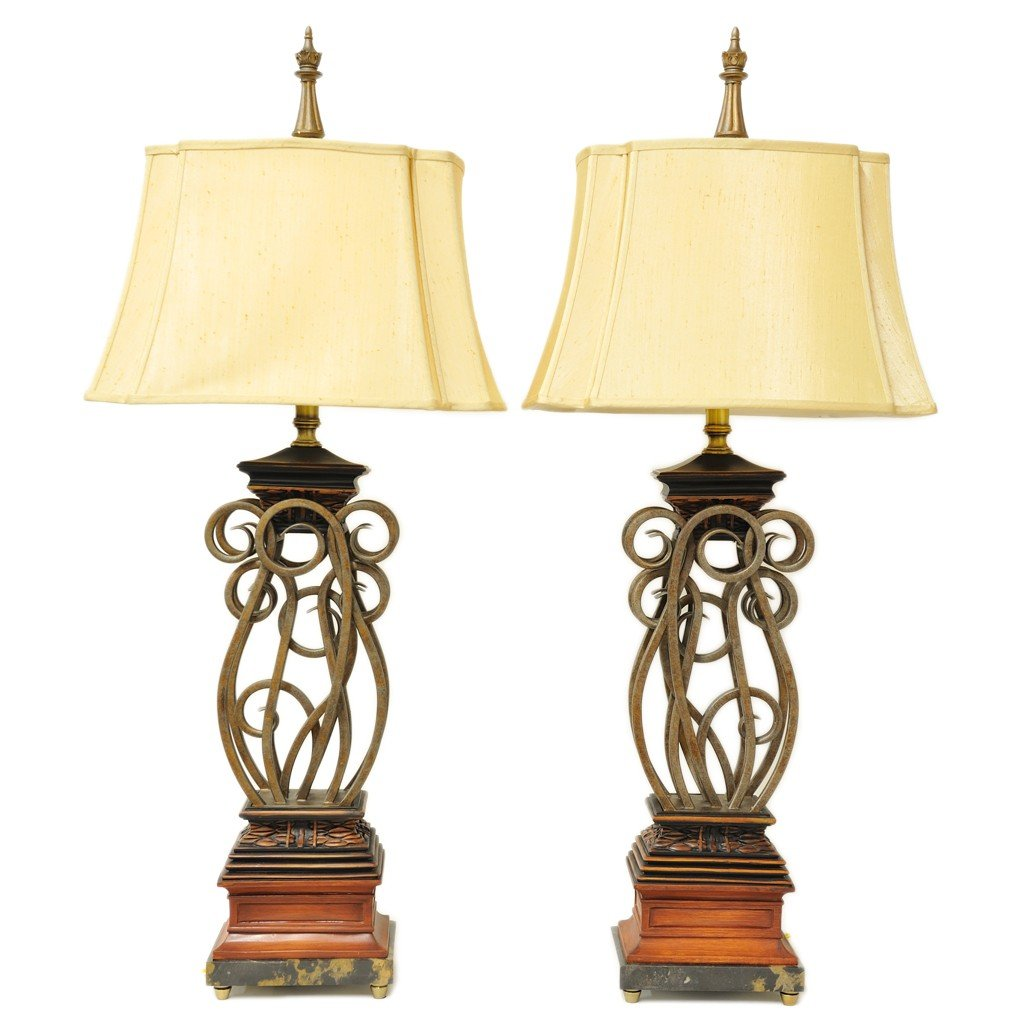 24: A PAIR OF SCROLL TABLE LAMPS 2 pieces