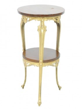 2: A BRASS AND WOODEN STAND