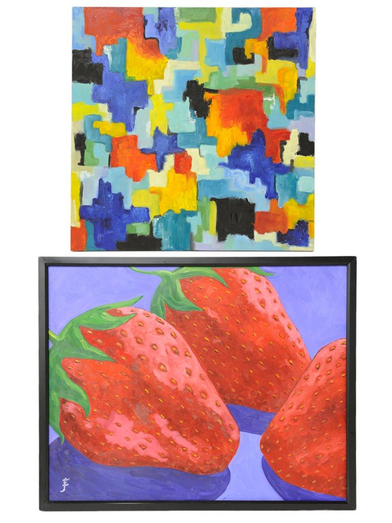 12: A COLLECTION OF TWO COLORFUL ACRYLIC PAINTINGS ON C