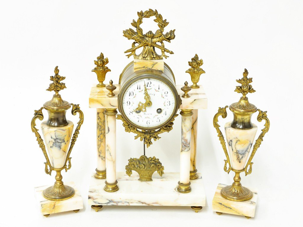 15: A FRENCH MARBLE CLOCK SET 19th Century