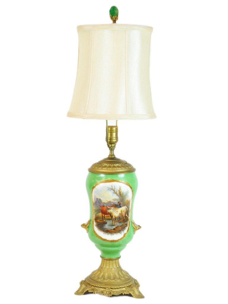 A HAND PAINTED PORCELAIN VASE FASHIONED AS A LAMP