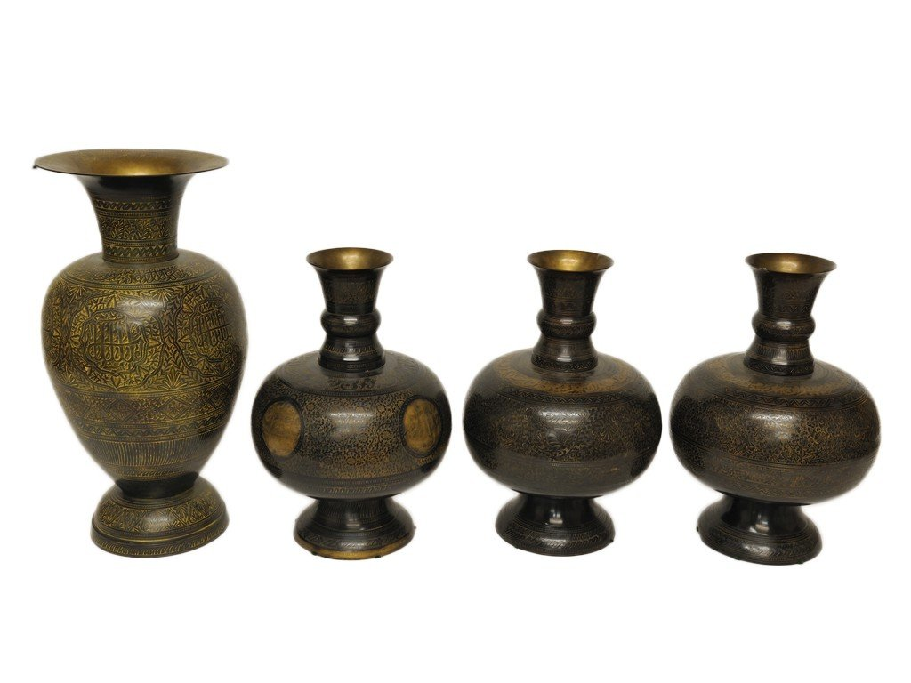 A COLLECTION OF FOUR ARABIC BRASS VASES 4 pieces