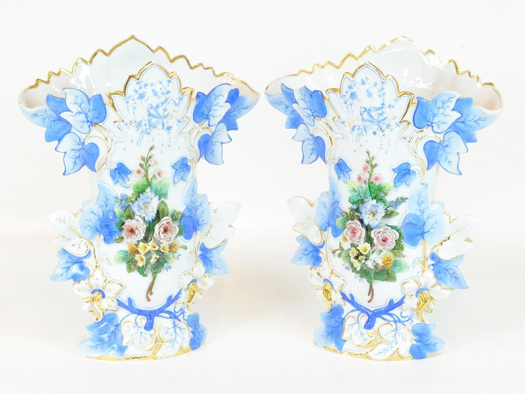 A PAIR OF FRENCH PORCELAIN VASES; Marked KPM 19th Centu