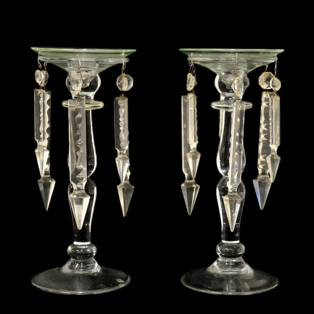 2: A PAIR OF CLEAR GLASS MANTEL LUSTERS 2 pieces