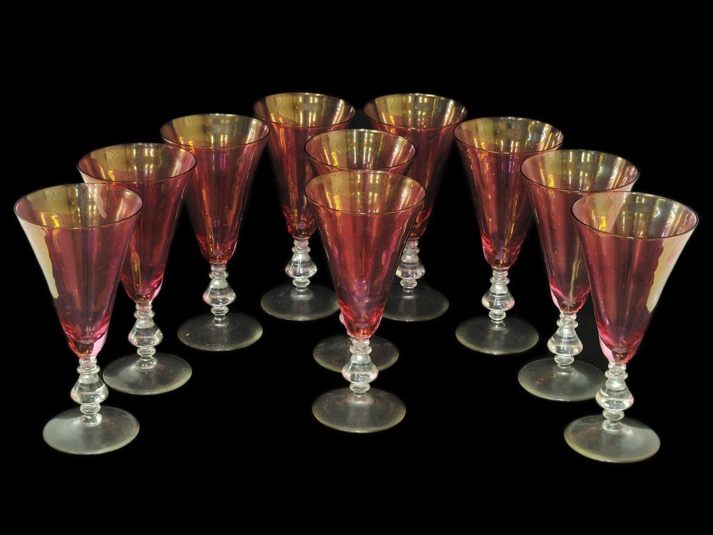3: A SET OF ROSE COLORED PARFAIT GLASSES WITH CLEAR STE