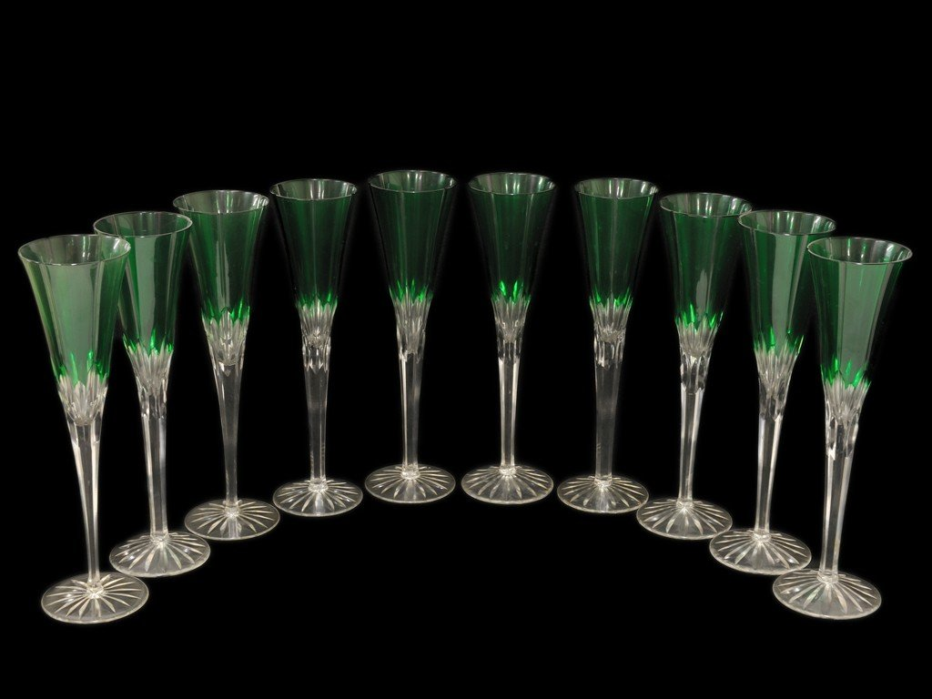 4: A SET OF GREEN CUT TO CLEAR BOHEMIAN GLASS CHAMPAGNE