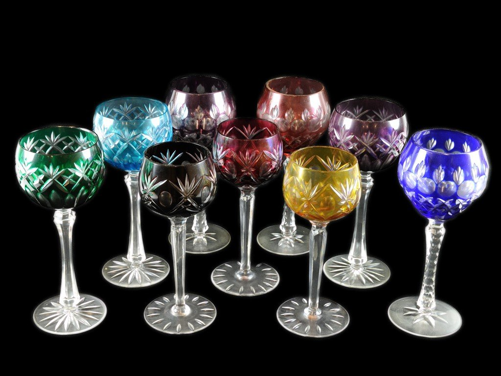 5: NINE ASSORTED BOHEMIAN COLORED TO CLEAR CUT GLASS ST
