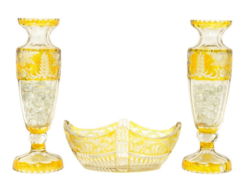 8: A LOT OF THREE BOEHM YELLOW CUT TO CLEAR GLASS PIECE