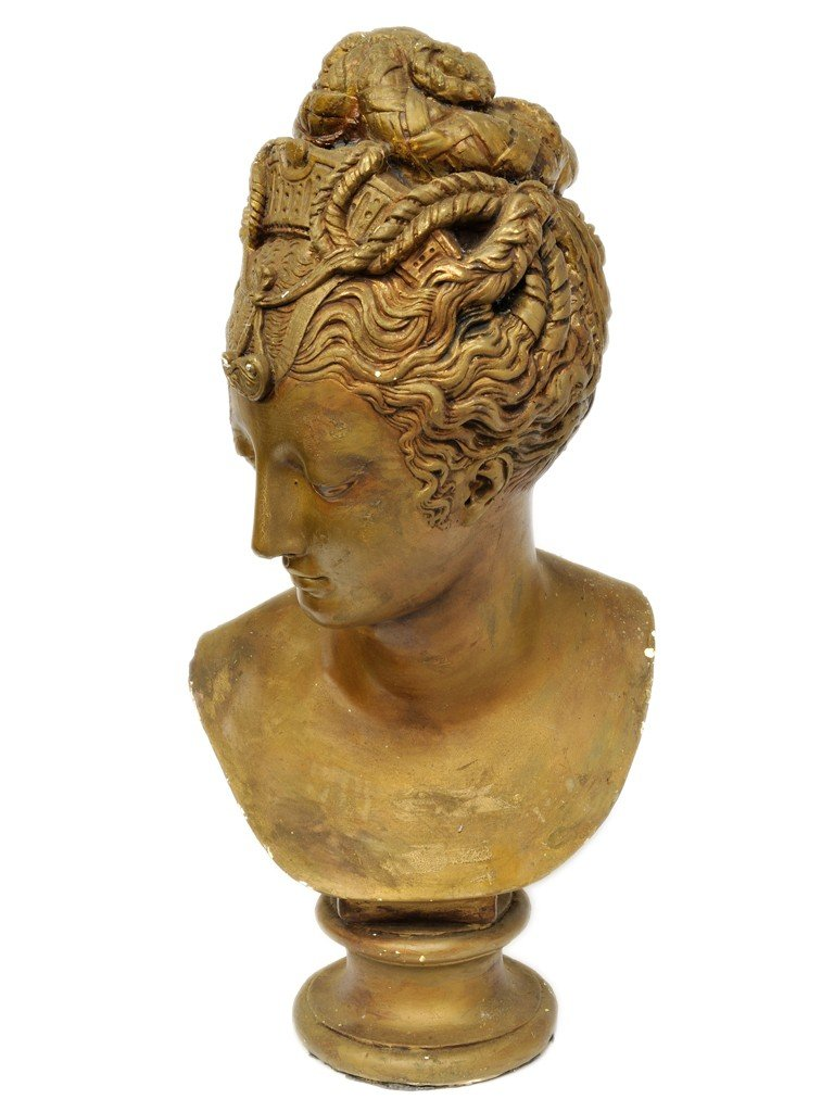 17: A PAINTED CAST BUST OF A LADY