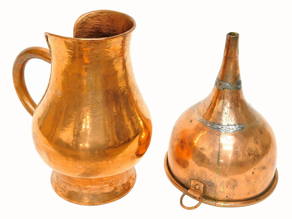 22: A FRENCH COPPER PITCHER AND FUNNEL
