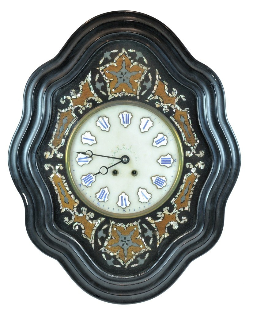 A FRENCH EBONY WALL CLOCK France, Late Nineteenth Centu