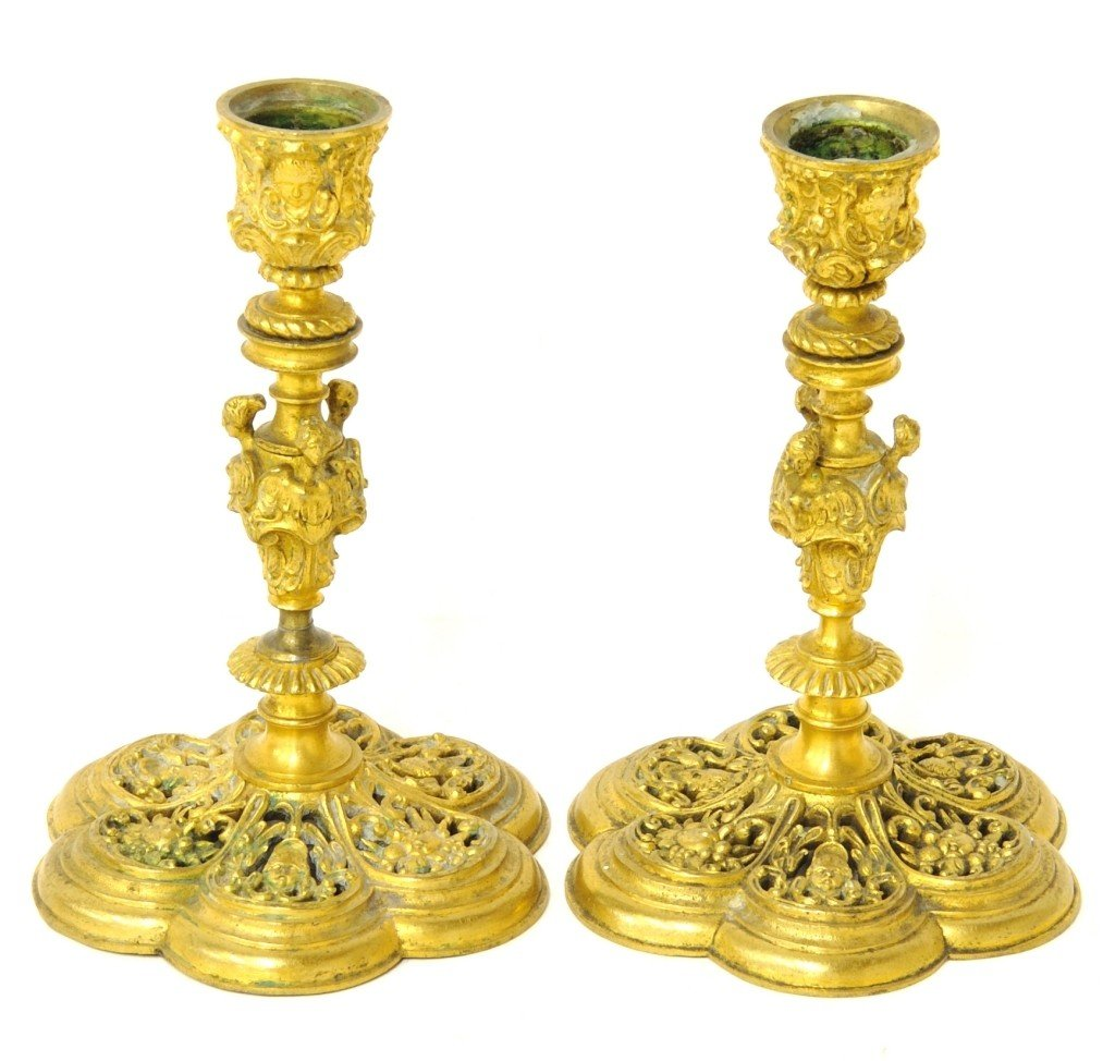 A PAIR OF FINELY CRAFTED FRENCH DORÉ BRONZE RETICULATED