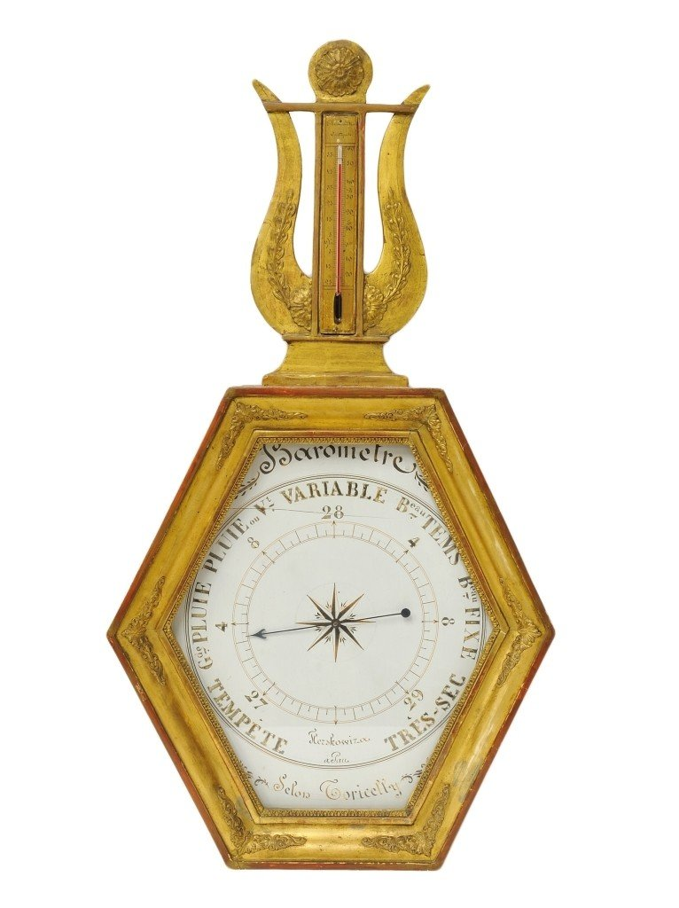 AN ANTIQUE GILTWOOD CARVED BAROMETER France, Nineteenth
