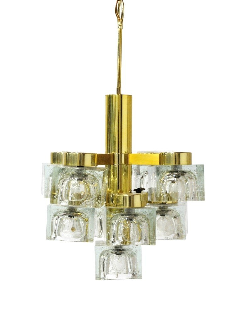 "A NINE-LIGHT SCIOLARI GLASS ""ICE CUBE"" CHANDELIER Gaeta"