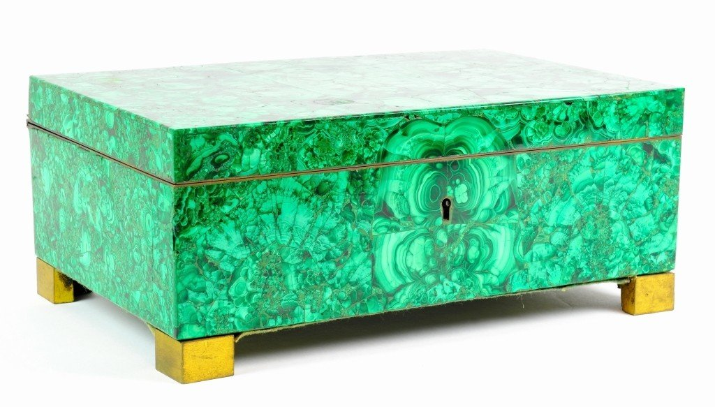 A RUSSIAN MALACHITE SILK-LINED STRONG BOX (JEWELRY BOX)