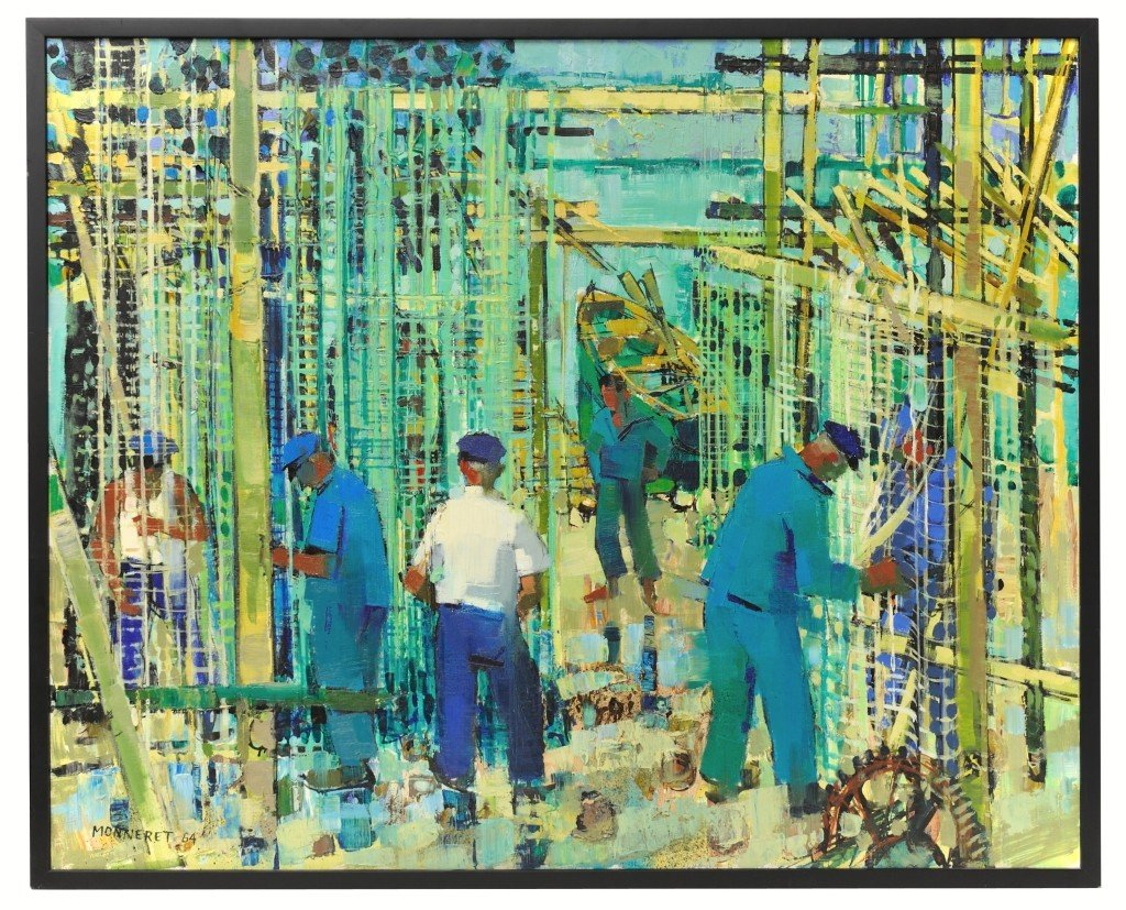 JEAN MONNERET, (French, b. 1922), Dock Workers, 1964, O