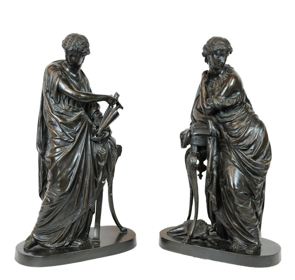 A PAIR OF BRONZE GRECIAN FIGURAL SCULPTURES