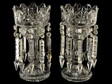 79: A PAIR OF ANTIQUE CUT GLASS MANTEL LUSTERS
