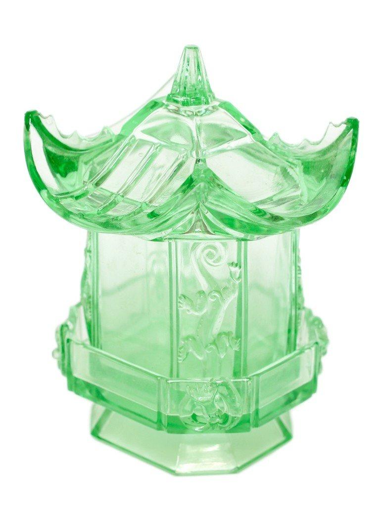 232: AN AMERICAN VICTORIAN GREEN PATTERN GLASS PAGODA,