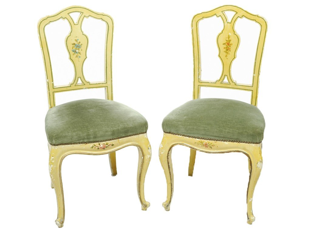 13: A PAIR OF VENETIAN PAINTED AND UPHOLSTERED CHAIRS