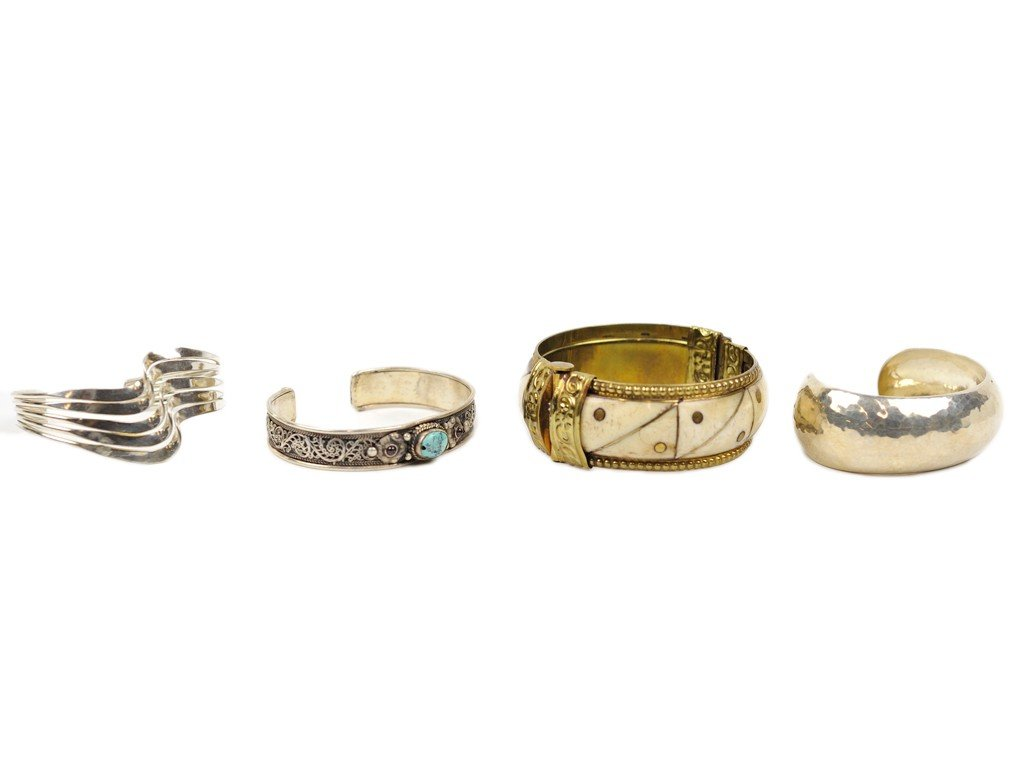15: THREE STERLING SILVER CUFF BRACELETS AND ONE BRASS