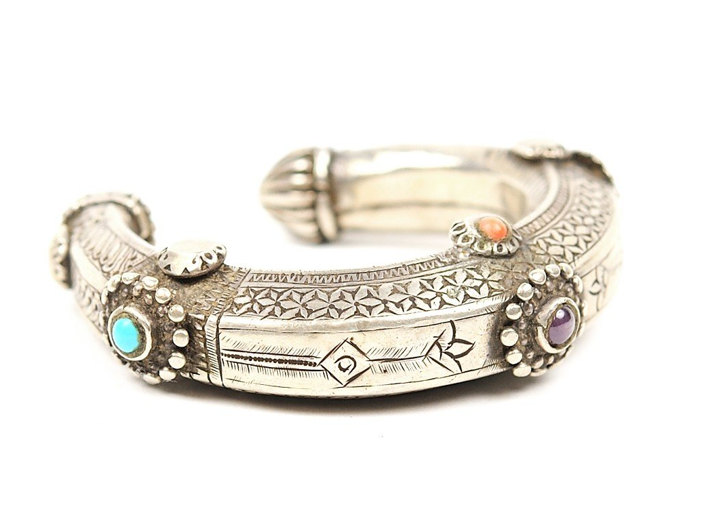 20: A STERLING SILVER PERSIAN WEDDING CUFF with turquoi