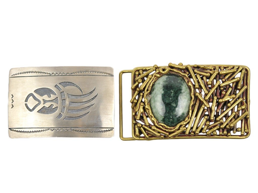21: TWO BELT BUCKLES; ONE CONTEMPORARY BRASS WITH GREEN