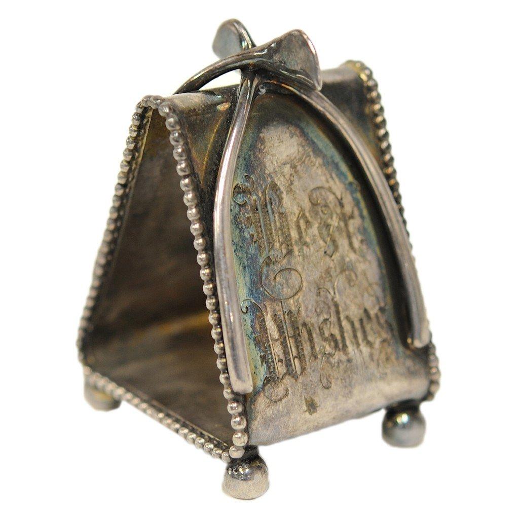9: A WISHBONE NAPKIN RING MARKED MERIDEN 636 E