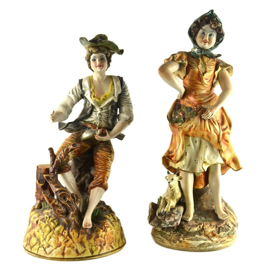 2: A PAIR OF HAND PAINTED CERAMIC FIGURINES 2 pieces