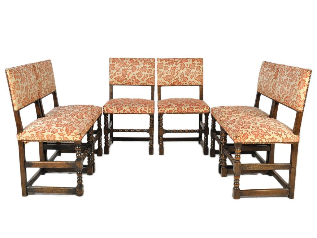21: A SET OF SIX RENAISSANCE OAK AND UPHOLSTERED CHAIRS