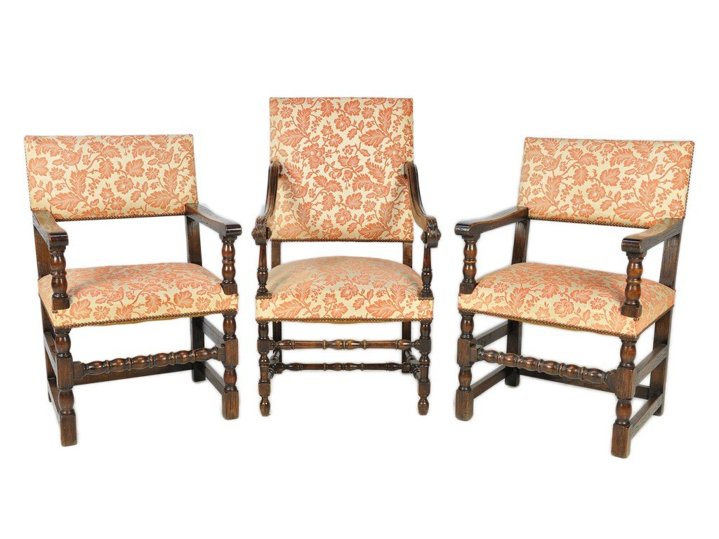 22: A GROUP OF THREE RENAISSANCE WALNUT AND UPHOLSTERED