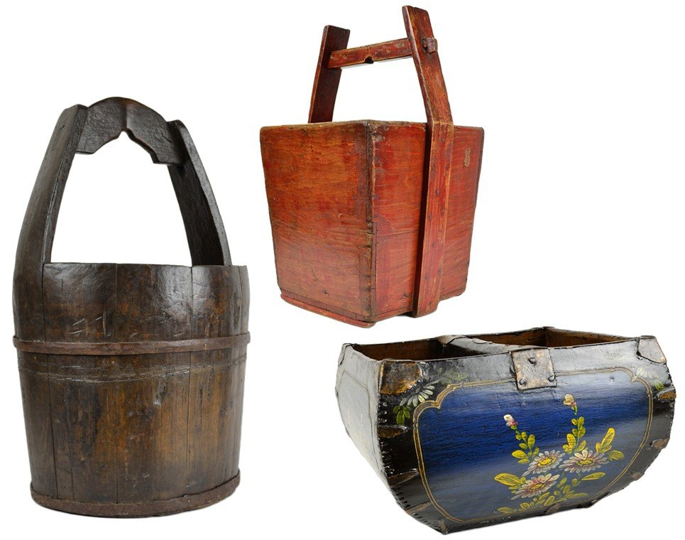 5: A TRIO OF DECORATIVE PAINTED WOODEN BASKETS