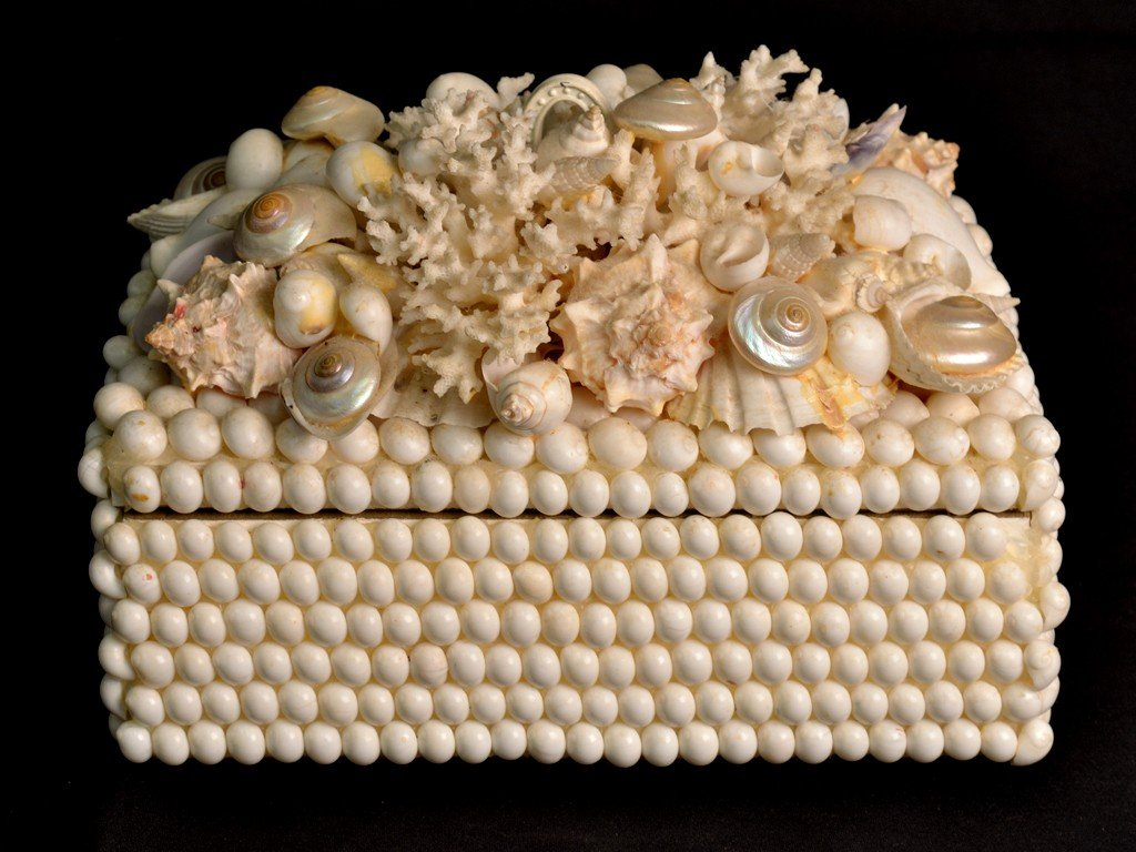 1: A LARGE TABLE BOX ADORNED WITH SHELLS AND CORAL