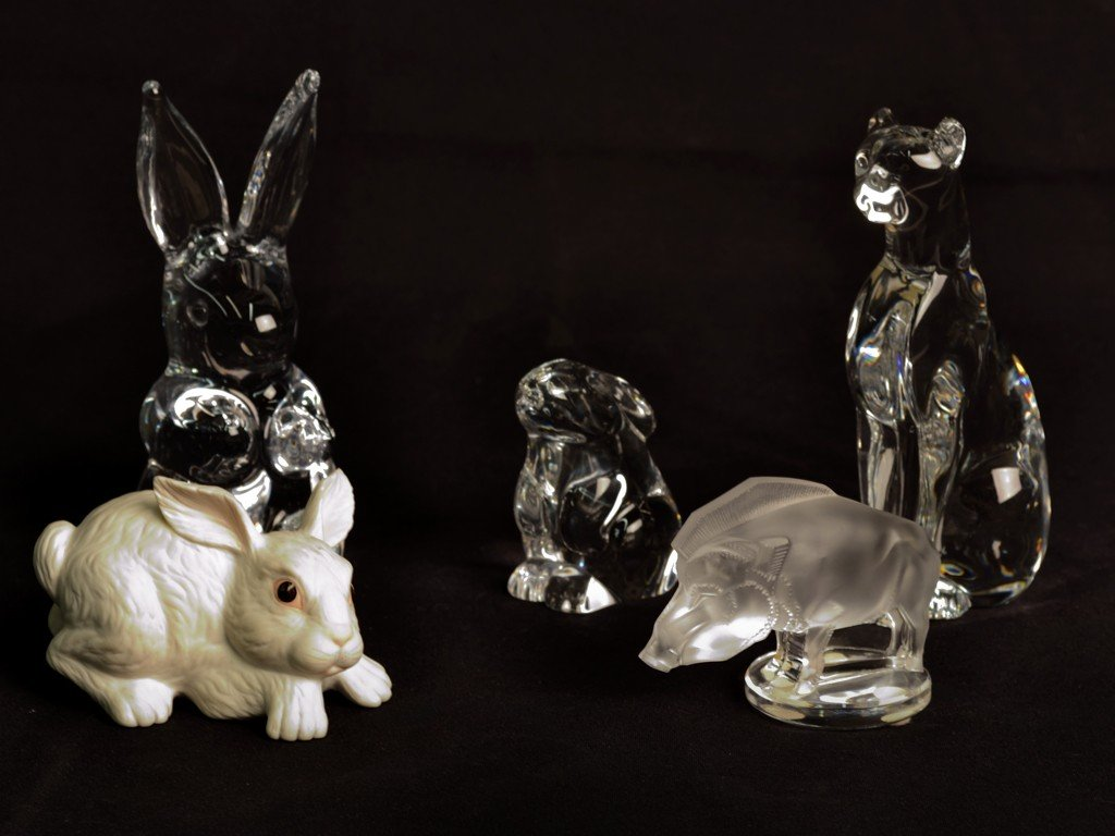 5: A LOT OF LALIQUE, BOEHM, AND BACCARAT ANIMAL FIGURES