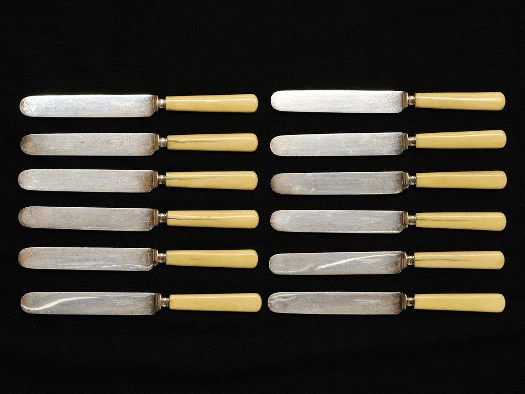 12: A SET OF TWELVE MERIDEN CUTLERY CO. KNIVES WITH BON
