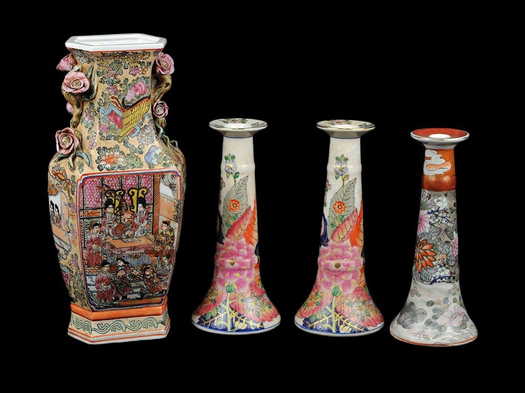 23: A CHINESE FAMILLE ROSE VASE WITH POPPY APPLICATIONS