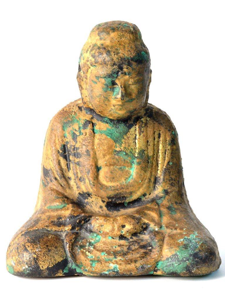 2: A DECORATIVE GILT METAL ASIAN BUDDHA FIGURINE